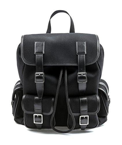 Wiberlux Saint Laurent Men's Buckled Strap Top Flap Backpack One Size Black