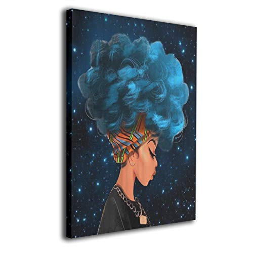 - Jemeira Atwood Thinking Blue Hair Africa Women Wall Art Painting for for Home Modern Decoration Print Decor for Living Room Without Frame Ready to Hang