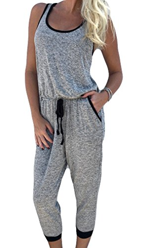 Wholesale Locry Women's Drawstring Waist Casual Leisure Loose Playsuit Calf-length Jumpsuit free shipping
