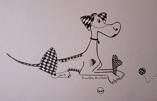 Cute Abstract Dog - ORiGINAL Drawing Modern black Ink on STRATHMORE heavy weight paper by Santos Arellano - Art & Crafts