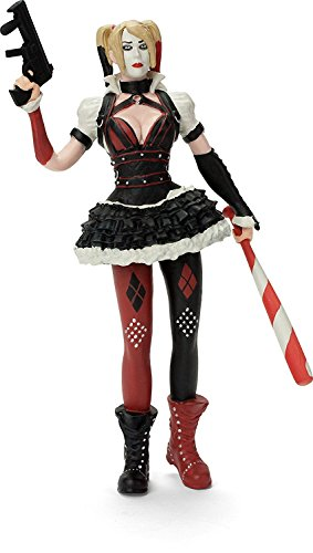 "Harley Quinn, Batman Arkham knight, bendable figure, hard pvc bat and gun, actual size over 6"" tall , birthday gift for girls, kids, collection."