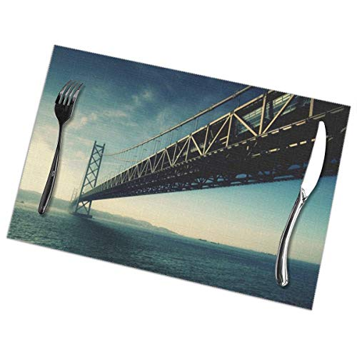 Jaylon Rectangular Placemat for Dining Table Bridge Print Table Mat Heat-Resistant Stain Resistant Anti-Skid Table Decor for Dining Room Kitchen Outdoor Easy to Clean 12x18 Inch Set of 6 (Bridge To Terabithia 2 The Return To Terabithia)