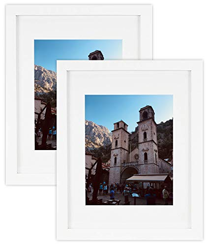 Golden State Art, Set of 2 White Photo Wood Frame 11x14 with Real Glass Mat for 8x10 Picture (2 8x10 Picture Frame)