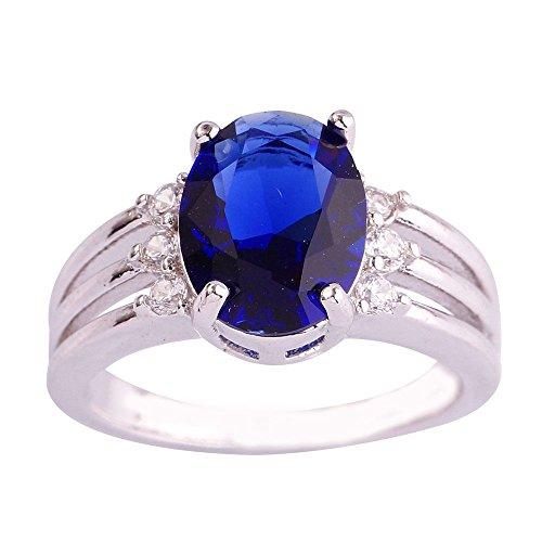 (Narica Women's Elegant 10mmx8mm 7 PCS Oval Cut Sapphire Quartz Ring)