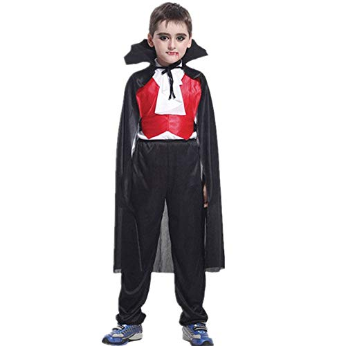 Sacow Children's Vampire Costume, Kids Halloween Cosplay Costume Tops Pants Cloak Outfits Set(4T-10T) (XL) -