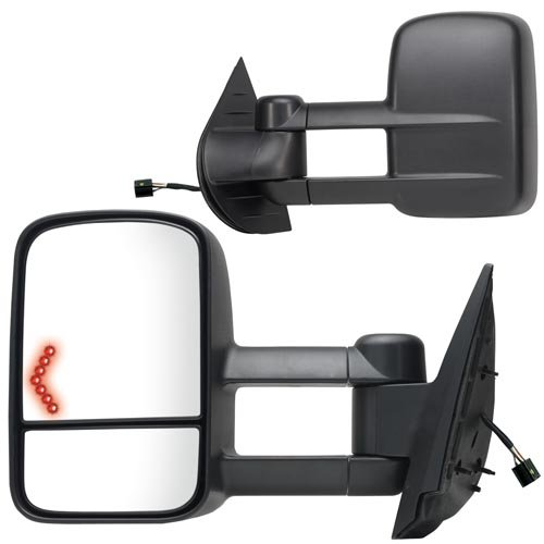Fit System 62093-94G Chevrolet/GMC/Cadillac Driver/Passenger Side Replacement Towing Mirror Set with Turn Signal and Dual Glass ()