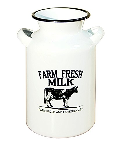 White Milk Jug - Enamel White Farm Fresh Milk Jug Decor Metal Black/White