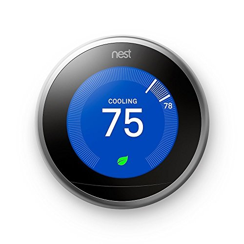 Stainless Steel 2 Center (Nest Learning Thermostat, Easy Temperature Control for Every Room in Your House, Stainless Steel (Third Generation))