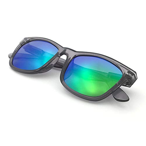 J+S Mission Mark II Rectangle Sunglasses, Polarized, 100% UV protection, Spring Hinged (Crystal Black Frame/Green Mirror Lens)