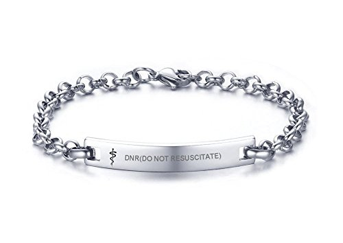 VNOX DNR(DO NOT RESUSCITATE) Medical Symbol Stainless Steel Rolo Chain Link Thin Bar Bracelet for Women Girl,7.6