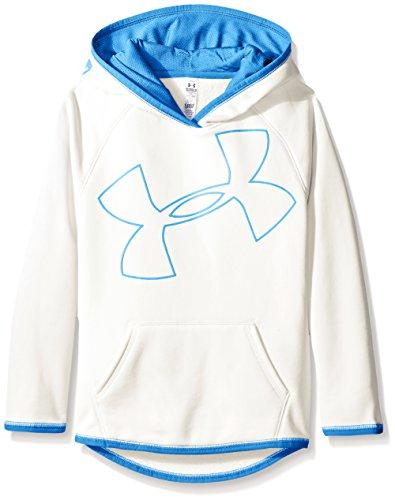 Under Armour Girls' Armour Fleece Jumbo Logo Hoodie, White/Water, Youth Medium