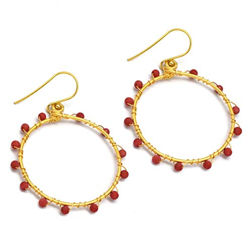 The V Collection Earrings Gold Plated Coral Round Shape Dangling Earrings Fashion Jewelry for Women and Girls