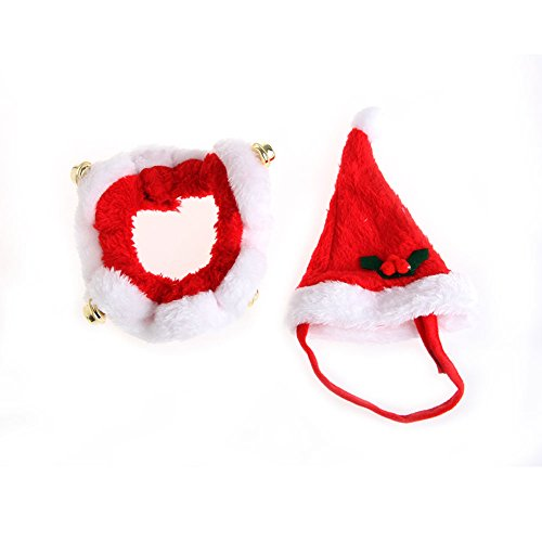 Kocome Pet Dog Cat Santa Hat Collar Set Bells Cute Puppy Kitten Christmas Xmas Pets Cap (S) (Plush Puppies Santa)