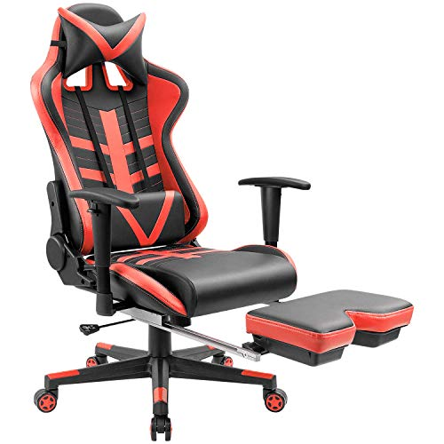 Homall Gaming Chair Ergonomic High-Back Racing Chair Pu Leather Bucket Seat,Computer Swivel Office Chair Headrest and Lumbar Support Executive Desk Chair with Footrest (Red) For Sale
