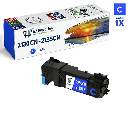 AZ SUPPLIES Toner | 30% more Print Performance | as a Replacement for Dell 2130 (T107C) Cyan Toner Cartridge for use in Dell 2130cn Dell 2135CN Printers