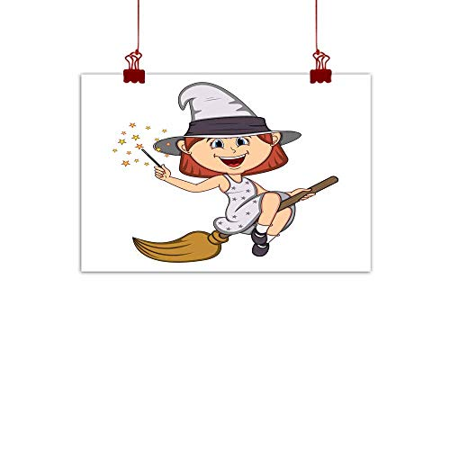 Mannwarehouse Modern Frameless Painting Funny Witch Girl with Halloween Outfit and Flying Broom Cartoon Bedroom Bedside Painting 35