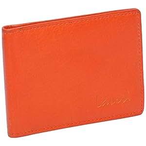 Laveri Genuine Leather Credit Card Holder Wallet Wallet and 12 Card Holder for Unisex - Leather, Orange