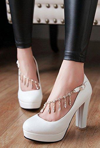 Easemax Womens Elegant Round Toe Buckled Rhinestones Pumps Shoes White PiUWpLW5
