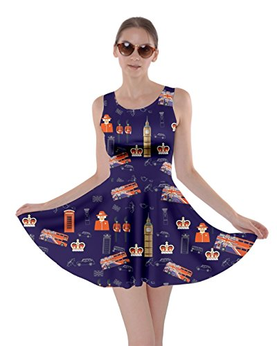 Skater Sky CowCow Navy in Dress Bus Pattern The Night Airplanes London Womens 0wa1qBU