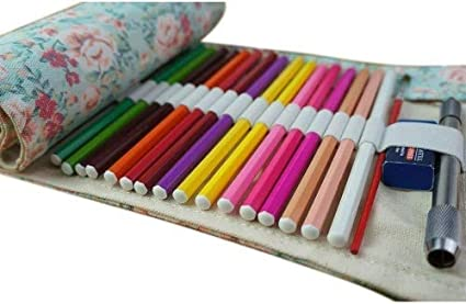 Estuche para lápices de Zedtom - Estuche escolar para lápices enrollable con 72 ojales para 72 lápices de colores (Nota: Lápices de colores no incluidos): Amazon.es: Oficina y papelería