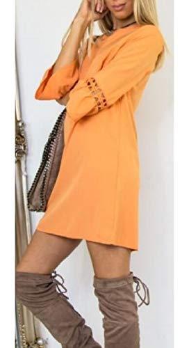 Linea casuale Di Una Collo Volant Donne Arancione Ad Del Mini Vestito Intorno Jaycargogo Rq10S1