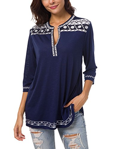 - Women's 3/4 Sleeve Boho Shirts Embroidered Peasant Top (L, Navy Blue)