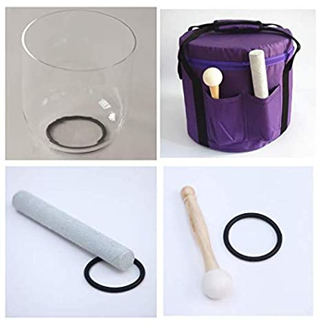 CVNC 7 Inch Clear Quartz Crystal Singing Bowl + Carry Case bag + One Suede Mallet & One Rubber Mallet (B Note + Bag)