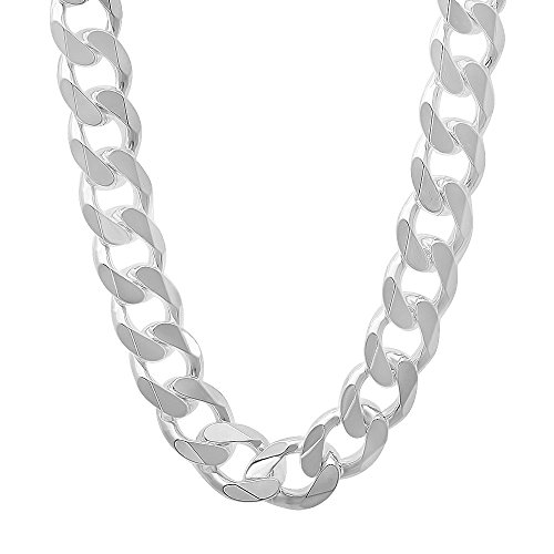 925 Sterling Silver Nickel-Free 11mm Beveled Cuban Link Chain Necklace, 18'' + Bonus Polishing Cloth by The Bling Factory