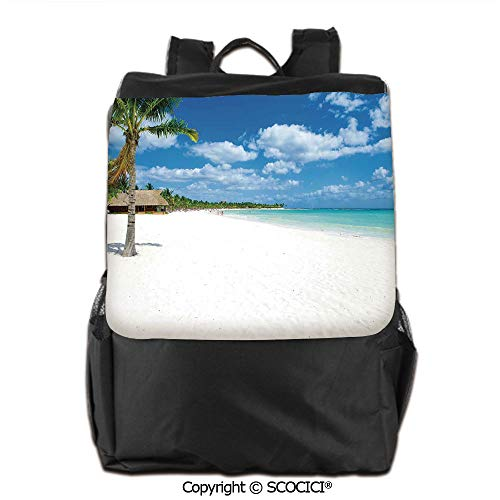 Lightweight School Bag, Tropical Exotic Seashore with Palm Trees and Clear Sky Island Nature Summertime,Backpacks School Travel Womens & Mens,19 OZ