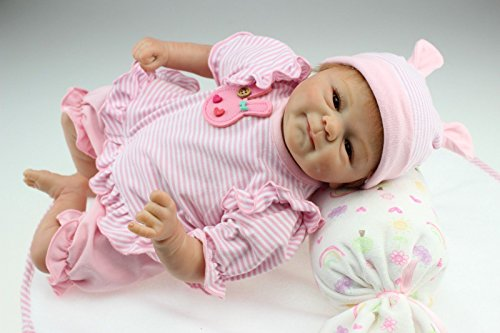 Oumeinuo Realistic handmade reborn baby girl dolls silicone vinyl doll newborn with magnet pacifier rooted hair open eyes