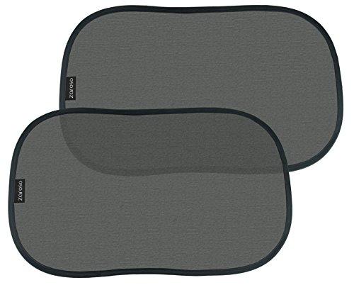 ZAROSO Auto Sonnenschutz / Sonnenblende für Baby Kinder und Hunde selbsthaftend mit UV Schutz (2er-Set) / Schwarz für Seitenscheibe / Fenster Universal Autoblende selbstklebend | 2 Stück | Größe: 48cm x 30cm