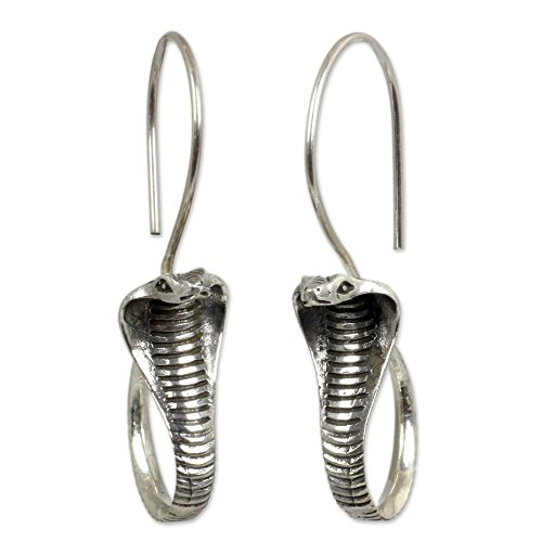 - NOVICA .925 Sterling Silver Drop Earrings with Oxidized Finish, Cobra Guardian'