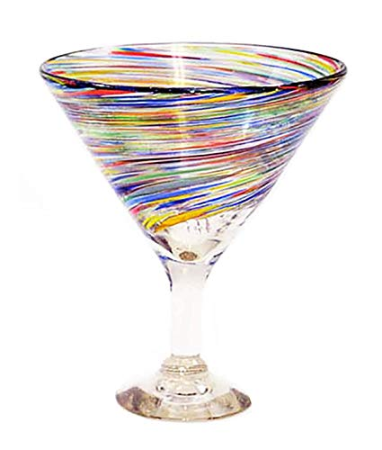 Set of 4, Multi-color Twisted Martini Glasses-Mexican Recycled Glass-12 Ounces from Laredo Import