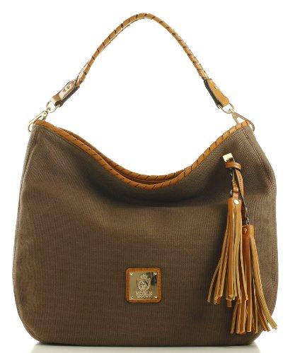 Brown Noble Colors 'Eternity' Mount Cool Hobo Canvas Handbag nx074OwxP