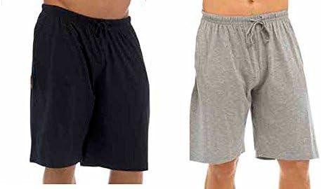 Hombres Pack Doble Salón Pantalones Cortos Jersey Elástico Noche Ropa Pijamas Pj inferiores - Negro & Gris, XX-Large: Amazon.es: Ropa y accesorios
