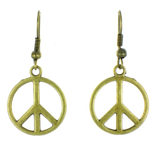ilovefj Gold 80s Retro Style Peace Drop Earrings ()