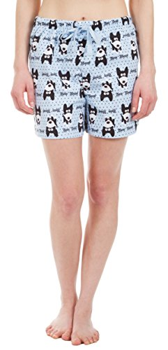 Flannel Printed Pants Lounge (Leisureland Women's Pure Cotton Flannel Lounge Pajama Boxer Shorts Bow Wow Dog Print (Small))