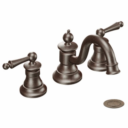 (Moen TS418ORB Waterhill Two-Handle Traditional 8-Inch Widespread Bathroom Faucet Trim Kit, Valve Required, Oil Rubbed Bronze)