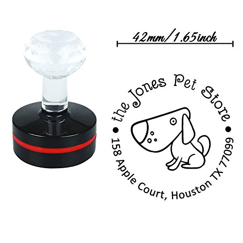 Round 42mm Customized Pup Cutu Whiffet Hoggerel Puppy Small Dog Pet Animal Self Inking Return Address Rubber Handmade Stamps (Address Puppies Book)