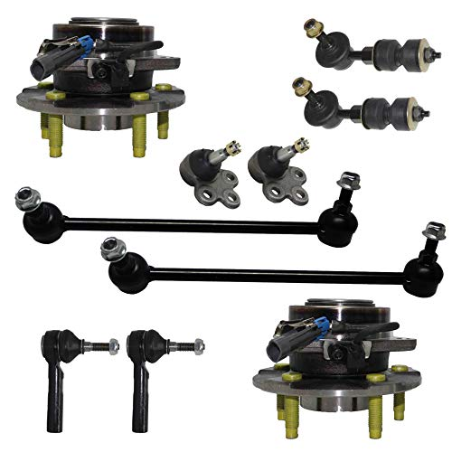 Detroit Axle - 10PC Front Wheel Bearing & Hub Assembly w/Lower Ball Joints, Sway Bars and Outer Tie Rods for 2002-2007 Saturn Vue - [2006 Pontiac Torrent] - 2005-2006 Chevy Equinox