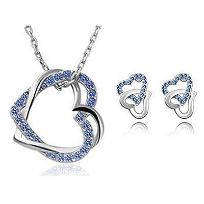 HSG Sapphire Bule Crystal Set Secret Language of Love Jewelry Heart Shape Earrings & Necklace