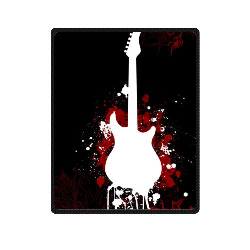 """Price comparison product image Mayers 40""""(W)x50""""(L) (Small) Discounts Black Red Guitar Shape Fleece Throw Blanket"""