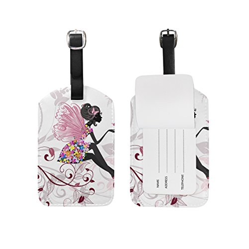 JSTEL Flower Fairy With Butterflies Luggage Tags Suitcase Labels Travel ID Identifier Privacy Cover