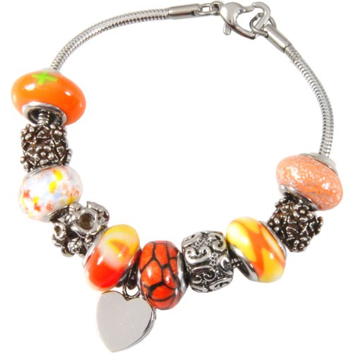 Memorial Gallery Sunset Orange Remembrance Bead Pet Heart Urn Charm Bracelet, 8'' by Memorial Gallery