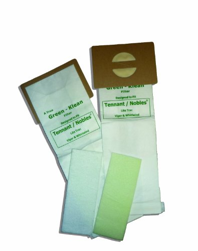 Green Klean 611783 Tennant/Nobles LiteTrac Viper/Whirlwind Replacement Vacuum Cleaner Bags Plus 2 Filters Per Pack