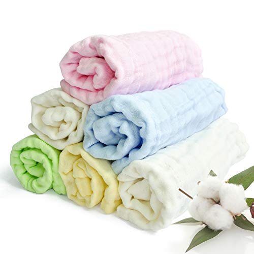Aibrisk Baby Muslin Washcloths - Natural Muslin Cotton Baby Slobber Wipes Baby Burp Cloth Pure Cotton Face Towel for Newborn Baby as Shower Gift (6 Pack, 11x11 inches)