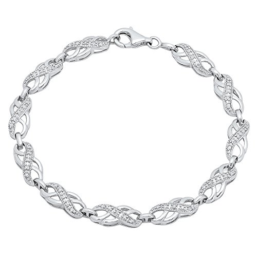 Dazzlingrock Collection 0.25 Carat (ctw) Round White Diamond Ladies Infinity Tennis Link Bracelet 1/4 CT, Sterling Silver ()