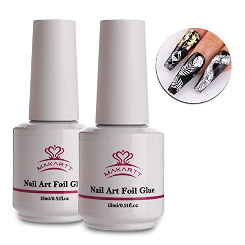 Makartt Nail Art Foil Glue Gel for Foil Stickers Nail Transfer Tips Manicure Art DIY 15ML 2 Bottles UV LED Lamp Required Soak - Nail Art Foil