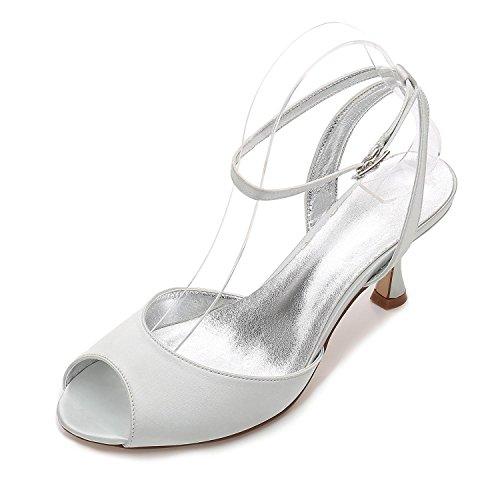 Mujer Silver E17061 Sandalias 18 Tamaño Boda Party Low Heel Nupcial Peep Strappy L Para yc Toe Ladies Shoes 1Ww4TngqtY