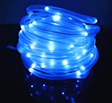 JulyFire 16.5 Foot Blue Solar Powered Rope Light 50 LED Waterproof, Use Indoor/Outdoor